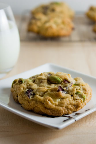 Cranberry, Pistachio and White Chocolate Chip Oatmeal Cookies