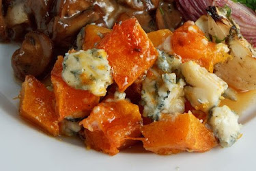 Roasted Squash with Gorgonzola and Maple Syrup