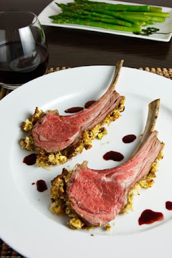 Pistachio Crusted Rack of Lamb with a Pomegranate Port Sauce