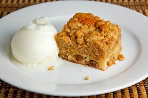 Gooseberry Crumb Cake with Vanilla Ice Cream