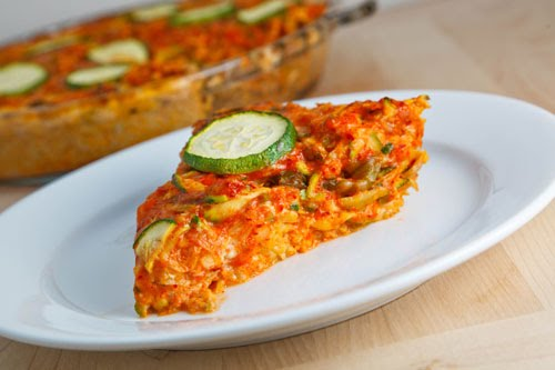 Zucchini and Kimchi Quiche with a Brown Rice Crust