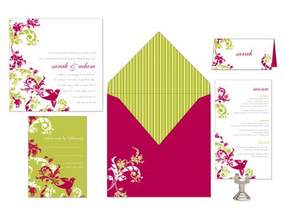 Also Designed This Weekend Are Samantha Mikes Wedding Invitations Featuring Hot Magenta Pink And Gorgeous Green Lime These Invites Feature A Sparrow With