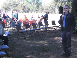 Myall Creek Memorial committee member Ivan Roberts addresses attendees