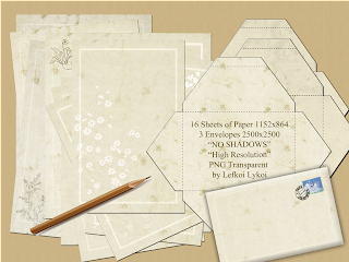 16 Sheets of paper & 3 Envelopes PNG 1152 x 864 pixels High Quality, Graphic Design, Mail Art, Vintage