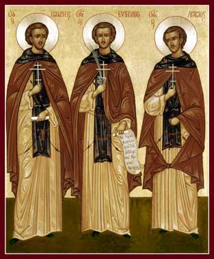 IMG STS. ACACIUS, Ignatius and Euthymius, New Martyrs of Mt Athos