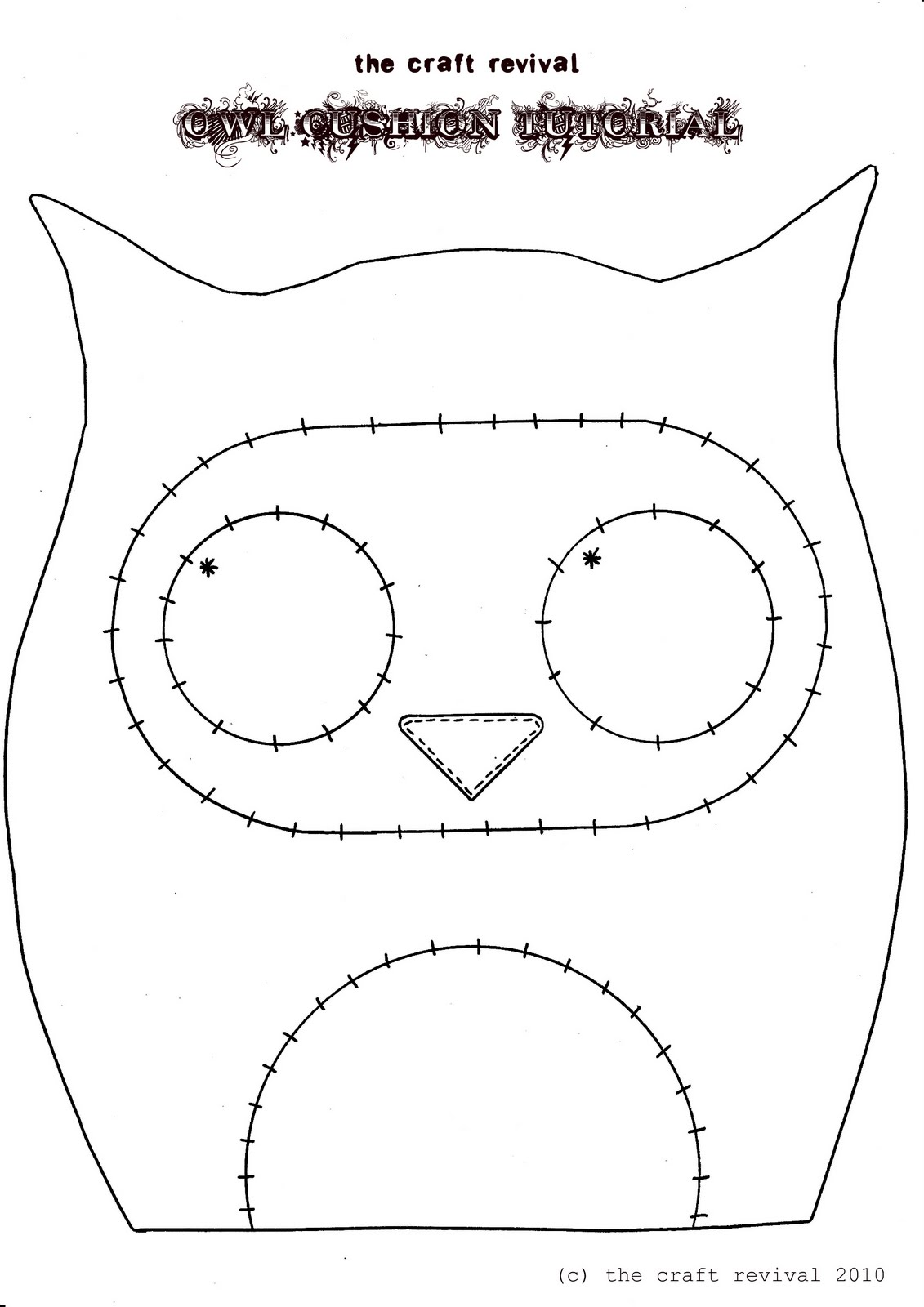 The craft revival owl cushion tutorial for Owl templates for sewing