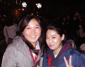 Korean fans at the South Korea v Greece friendly at Craven Cottage, London