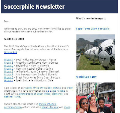 Soccerphile World Cup 2010 January Newsletter