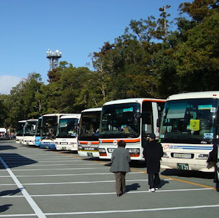 Tour buses in Ise, Japan