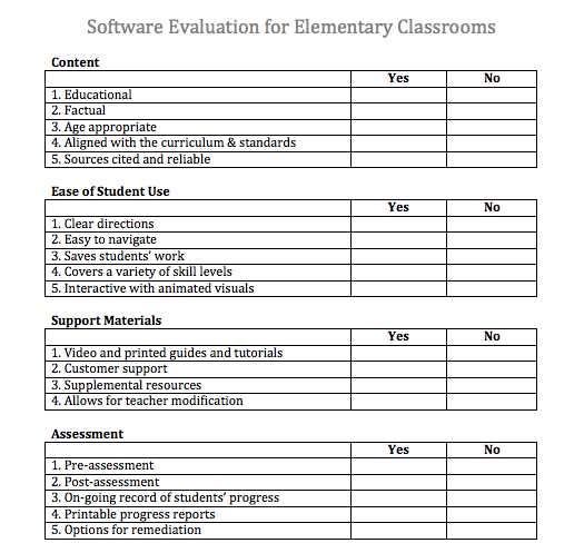 software evaluation form Learning is a Journey: Software Evaluation Form