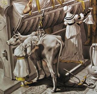 Détail d'un vitrail illustrant Gargantua de Rabelais