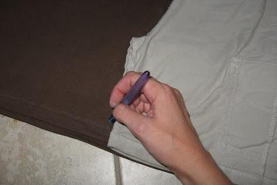 trace around shorts onto tshirt fabric
