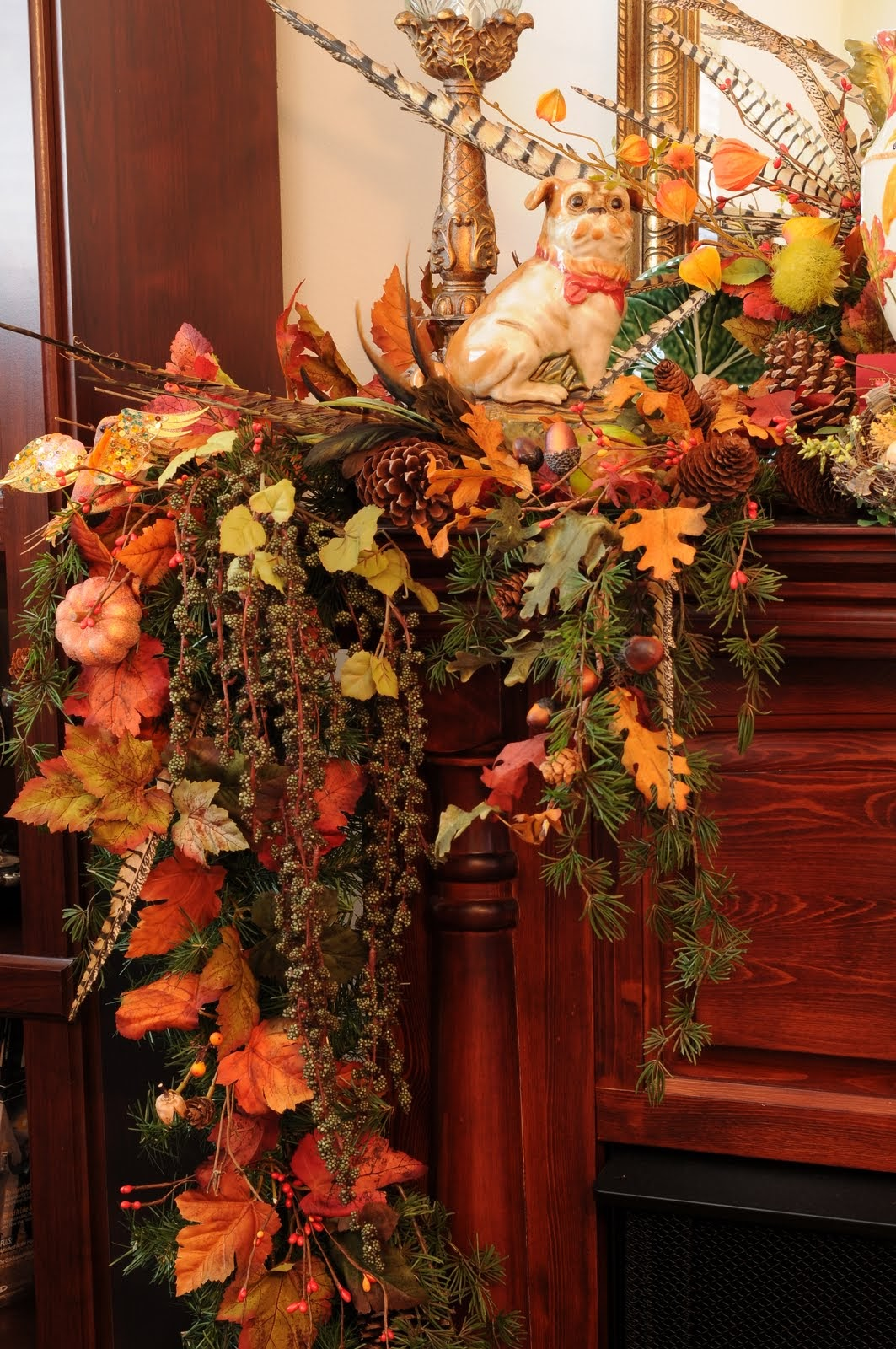 decor fall thanksgiving decorating decorations autumn mantel fireplace decoration decorate table mantle mantels decorated designs floral flowers decore interior fresh