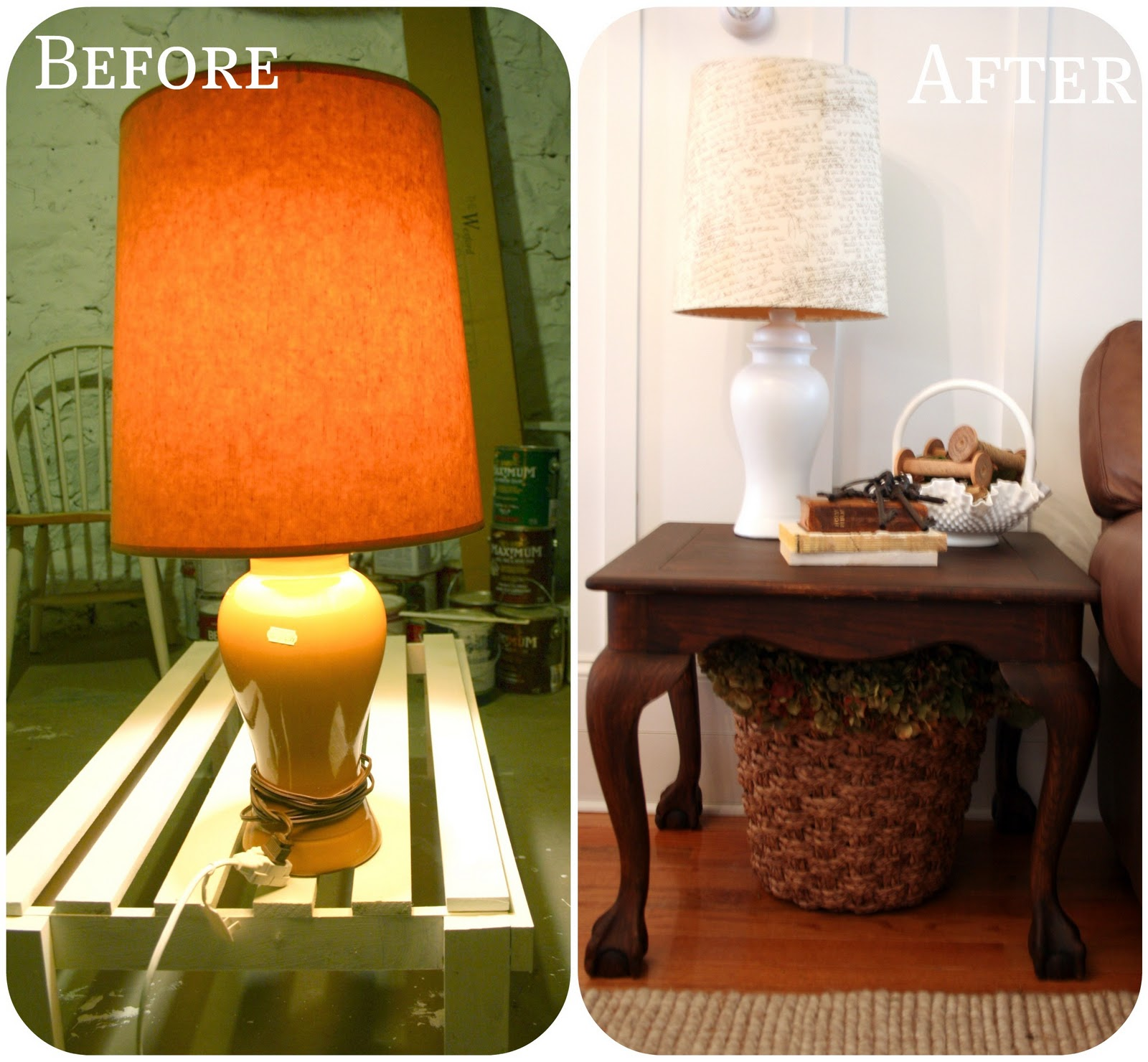 Pottery Barn Replacement Lamp Shades: Pottery Barn Knock-off Script Lamp Shade