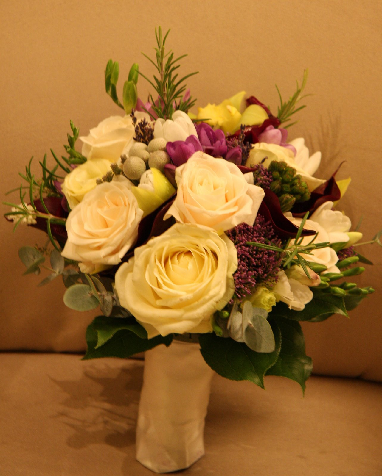 The Flower Magician: Cream & Purple Spring Wedding Bouquet