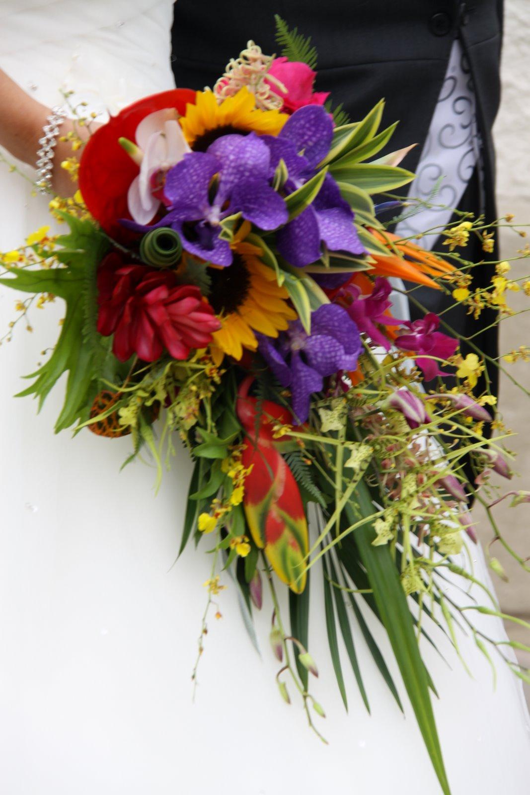 Super Tropical Coloured Wedding Bouquet