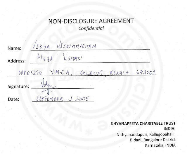 Nithyananda Agreement paper with lady devotee- page 1