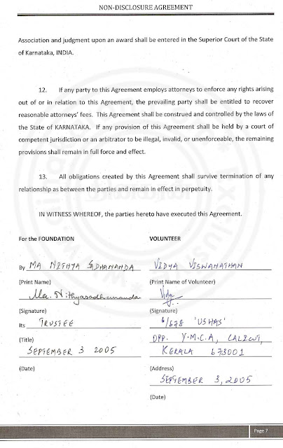 Nithyananda Agreement paper with lady devotee- page 7