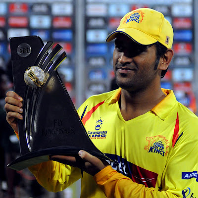 Dhoni with IPL champions trophy