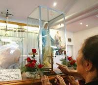 تمثال العذراء الذي جرت عليه الدراسة وتبين أن ظاهرة الدموع مجرد خدعة