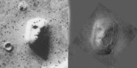 وجه المريخ الذي اتضح فيما بعد أنه وهم بصري في صورة ذات دقة أكبر