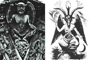 رسم يوضح الشيطان بافومت برأس تيس وجسد بشري وبجانبه تمثيل للشيطان بشكل خفاش على كنيسة ماري في فرنسا