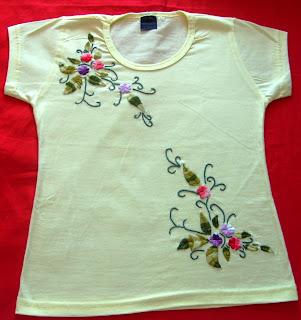 Nininha Artesanatos  Camiseta (Bordada a Mão Ponto Livre) 61a0fbca9eb