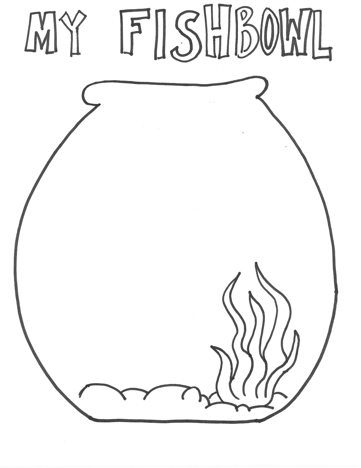 Fish bowl printable for Empty fish bowl coloring page