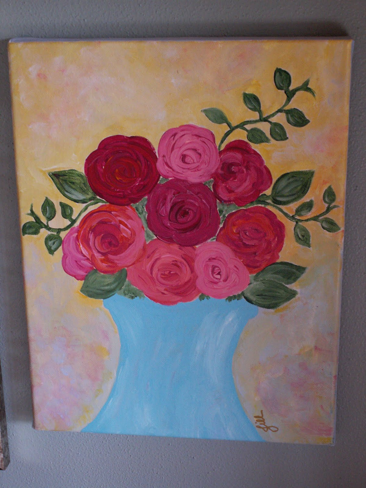 Art and Life Whimsical Floral Acrylic Paintings