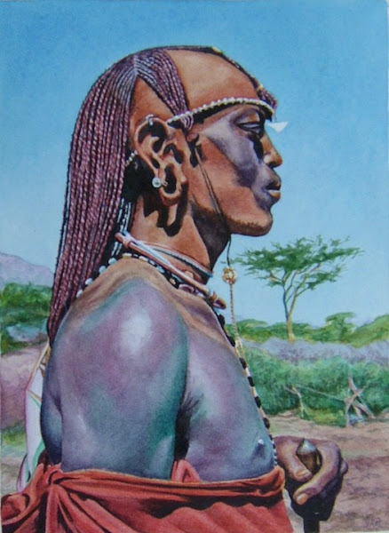 Masai Man  watercolour early 80s