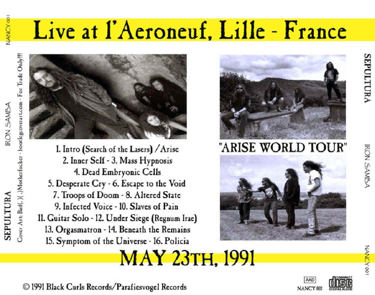 Sepultura: Iron Samba  l'Aeroneuf, Lille, France - 1991 05