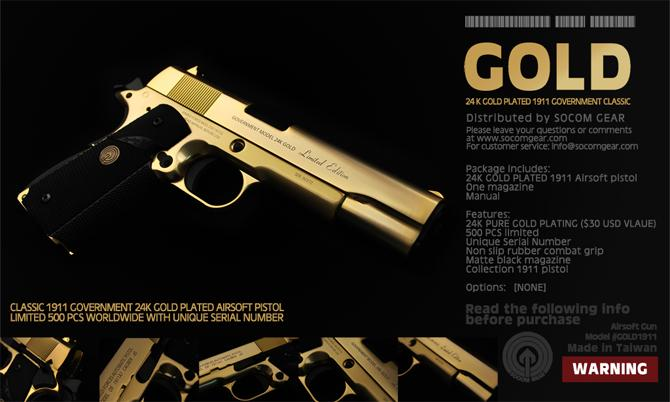Tactical World: SOCOMGEAR 24K Gold Plated 1911 Government