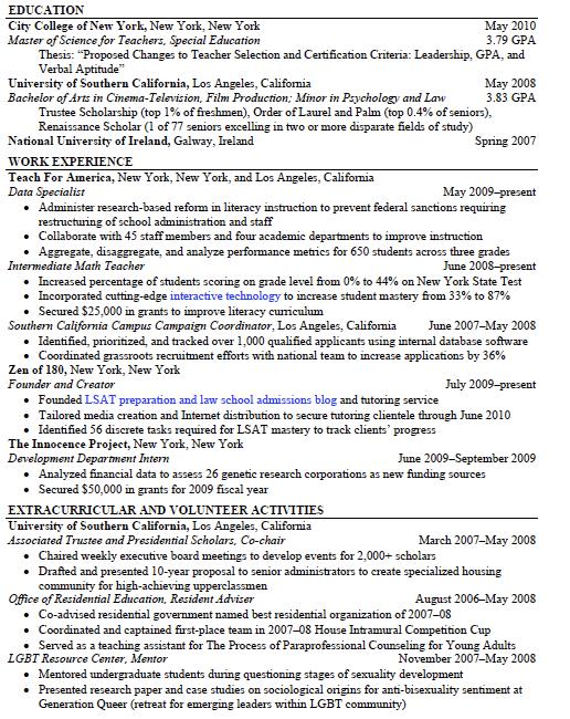 harvard law school opia sample resumes