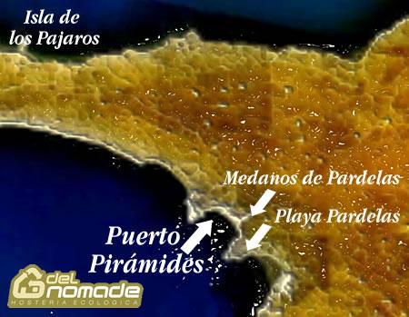 Mapa general del area de Puerto Pirámides Pardelas e Isla de los Pajaros
