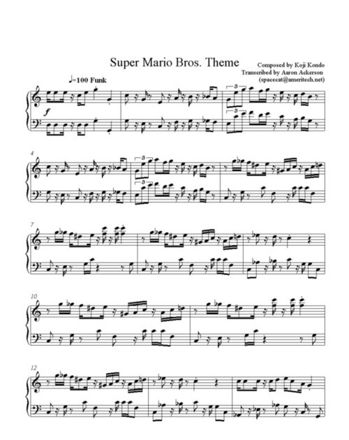 lisa 39 s free stuff free super mario bros theme sheet music. Black Bedroom Furniture Sets. Home Design Ideas