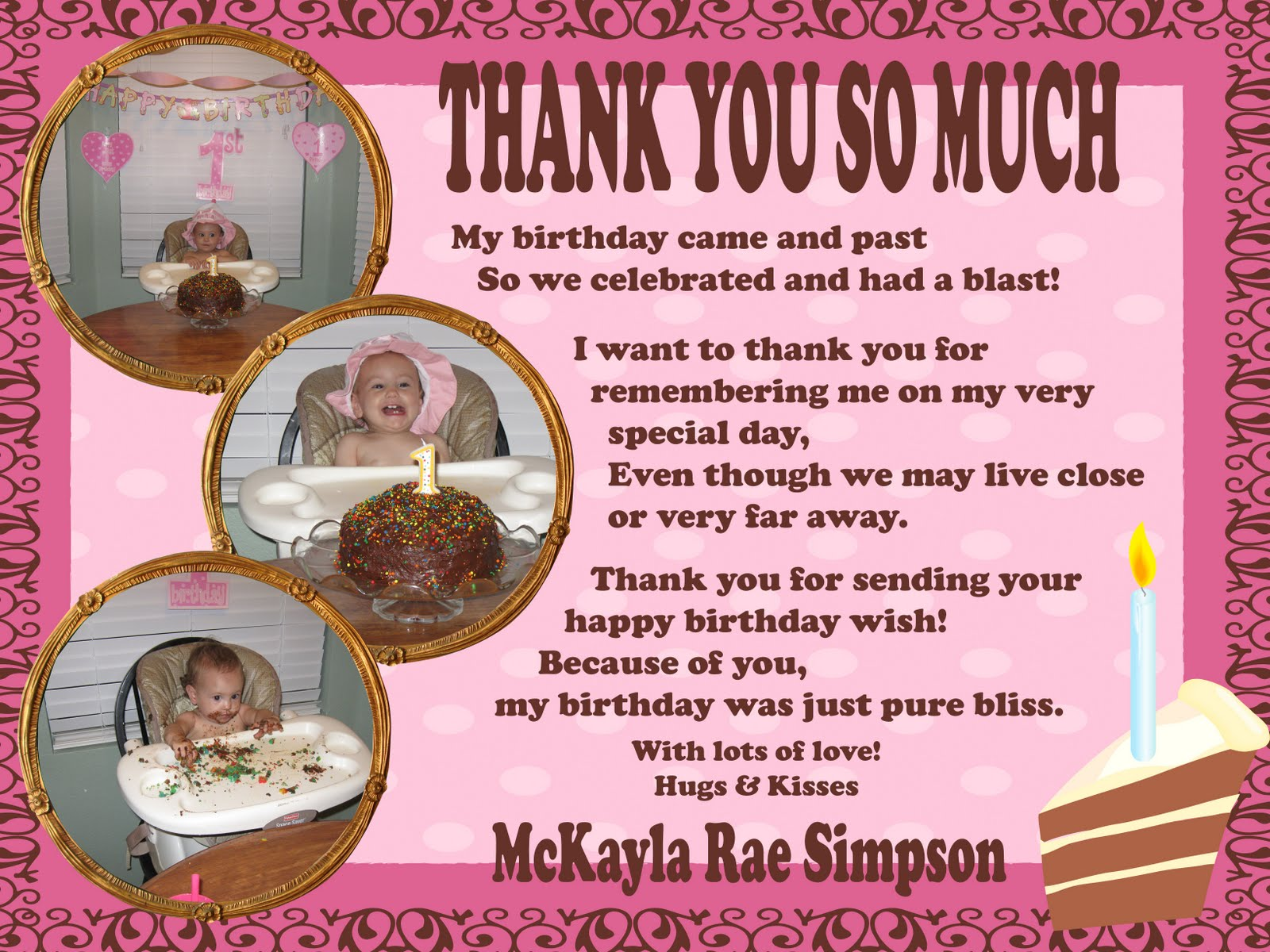 Simpsonized Crafts Birthday Thank You Wording
