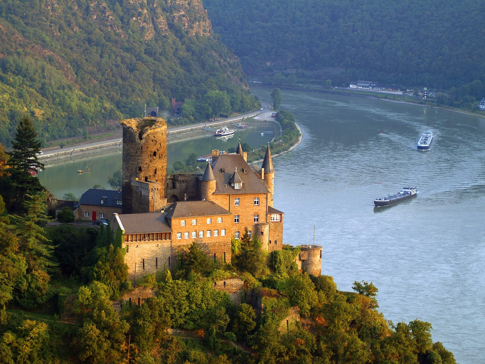 Castles on the Rhine river in Germany