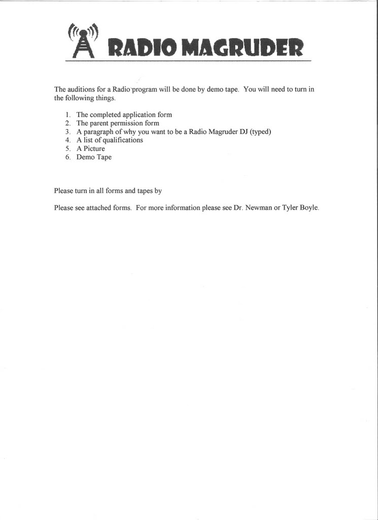 Radio Magruder - WCOL Our On-Air DJs - audition form