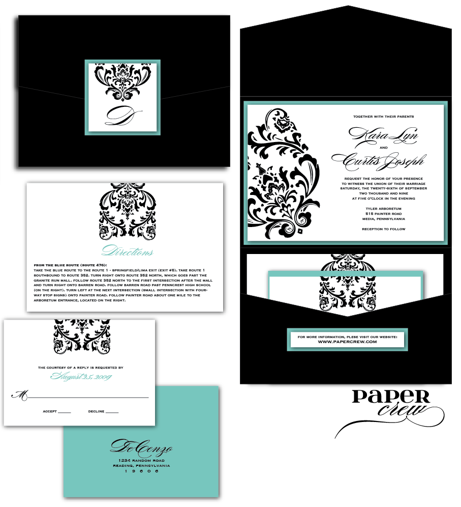 04 tiffany blue wedding invitations Madison Damask Invitation Set in Black and White with Tiffany Blue Accents