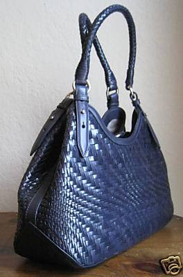 Cole Haan Genevieve Woven Small Triangle Tote Shown Here In Estate Blue