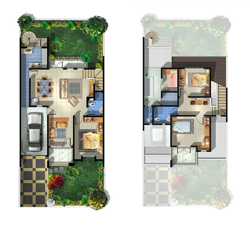 Denah Ideal Rumah Minimalis Type 100/200 keatas