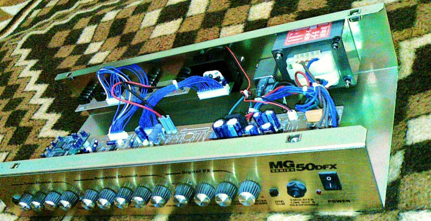 Techincal specifications: Looking at an mg-50 circuit board, an amp tech  can easily notice that the electronic components are of a medium quality.