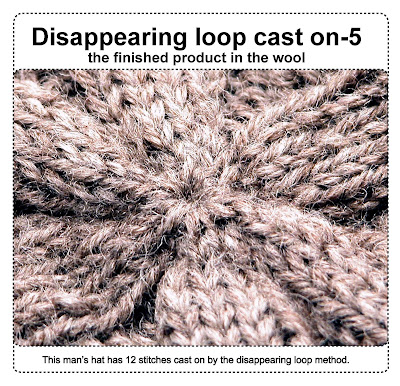 finished product in the wool disappearing loop cast on