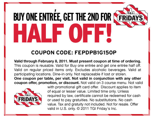 image relating to Tgi Fridays Printable Coupons named Tgi coupon - Airport tulsa all right