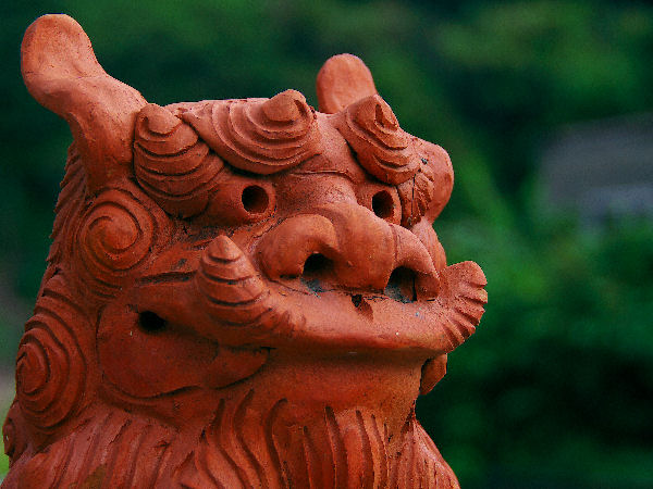 lion-dog statue, red clay