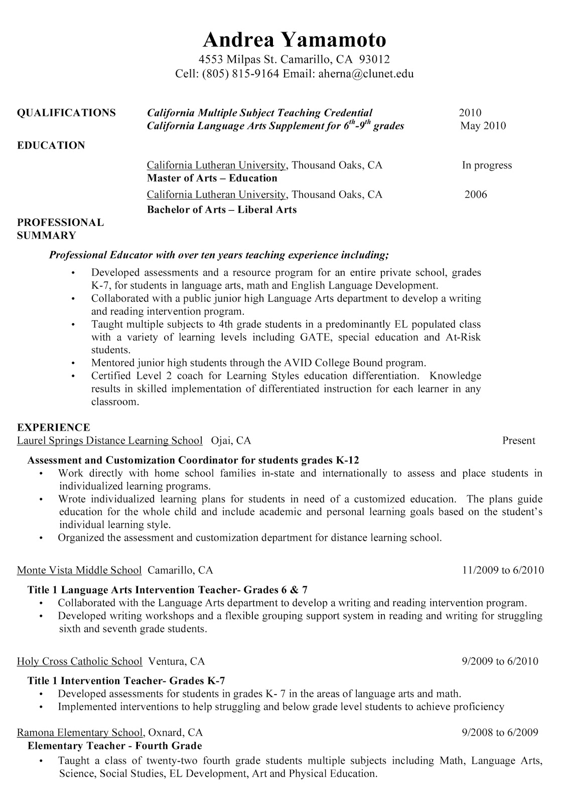 teacher resume professional profile