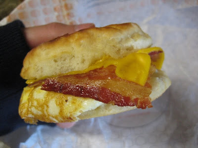Jack in the Box's Bacon, Egg, and Cheese Biscuit from the side