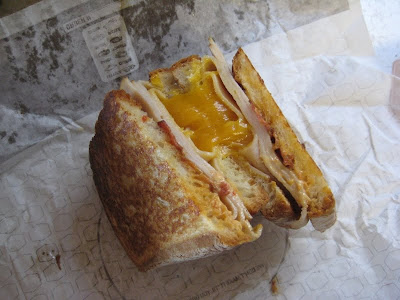 Jack in the Box Turkey, Bacon, & Cheddar Grilled Sandwich cross section