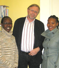 Left to right: Emma Wanyoni, CI Director General Joost Martens and Pelisa Manqoyi of NCF