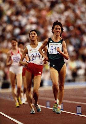 Barcelona 1992 - 10 kms marcha, con Alina Ivanova liderando la prueba seguida por Chen Yueling